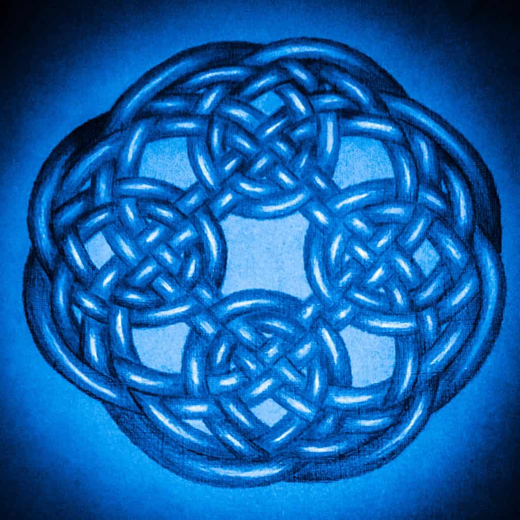 Celtic Knot in Deep Blue by Hilary Oak