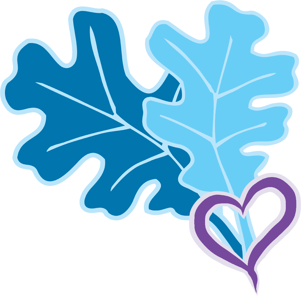 two Oak leaves and heart